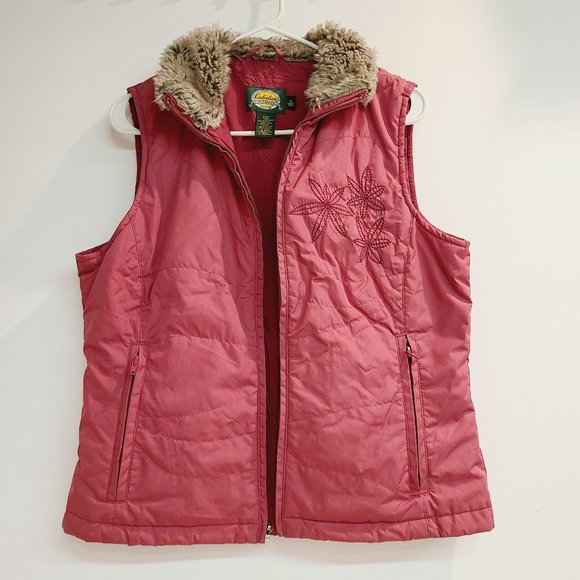 Cabelas Womens Pink Embroidered Quilted Vest Fur
